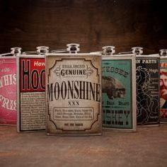 $26 Fully Loaded Hip Flasks.  8 designs.  BourbonandBoots.com