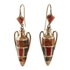 Victorian Scottish Agate Gold Amphora Earrings. Victorian era amphora drop earrings in 15k rose gold with Scottish agate stones. It is unusual to find the Scottish agate stones in gold, they are more typically found in silver.   Circa 1870, English in Origin.