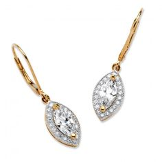 2.12 TCW Marquise-Cut Cubic Zirconia Drop Earrings in 18k Gold Over Sterling Silver at Viomart.com