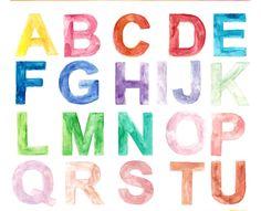 Alphabet Art Print, Handmade, Custom Watercolor, Childrens Art, Educational Print, Nursery Art, Customizable watercolour by OrangePeelPaperie on Etsy