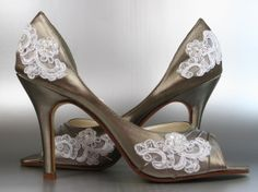 Wedding Shoes -- Pewter Peep Toes with White Lace Accents