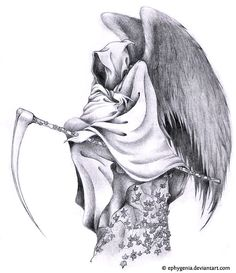 Grim reaper tattoo design. Love the wings. Very well drawn. I probably wouldn't get a grim reaper on me though.