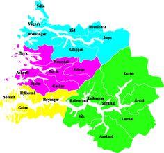 Sogn og Fjordane – Travel guide at Wikivoyage Blue: Nordfjord; fuchsia: Sunnfjord; yellow: Outer Sognefjord; green:Inner Sognefjord