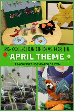 Planning your toddler and preschool April themes? This collection includes a variety of hands-on ideas that you can add to your monthly planner! #toddler #preschool #April #themes #planning #activities #classroom #teachers #spring #teaching2and3yearolds Preschool Circle Time Songs, Preschool Bug Theme, April Preschool, Preschool Garden, Circle Time Activities, Toddler Preschool, Bug Activities, Rainy Day Activities, Spring Activities
