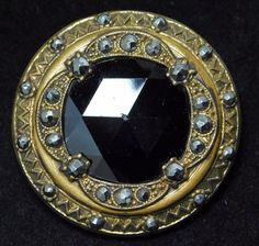 LARGE Antique GAY 90'S BUTTON FACETED Black GLASS Gem Cut Steel in BRASS #160