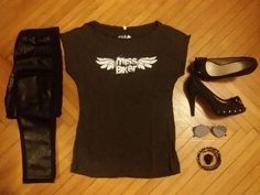 Fashion outfit with Miss Biker Black tshirt #outfit #fashion