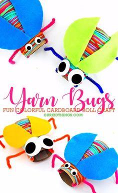 Cardboard Roll Yarn Wrapped Bugs Craft #yarn #bugcraft #cardboardroll #colorful #kidscraft #kidcrafts