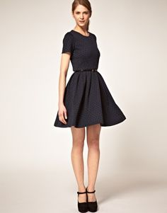 Boutique By Jaeger Ponti Prom Dress in Flocked Polka Dot