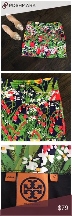 Tory Burch  Floral Pocket Navy Mini Skirt So cute! Authentic Tory Burch floral mini skirt. Front pockets with gold buttons. Fully lined. Side zip. 16 inches in length. Size 4. Tory runs a little small. I think this is best for a size 2 or a small size 4. Fabric does not stretch. Tory Burch Skirts Mini