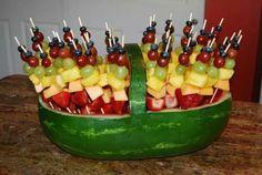 Watermelon fruit skewer basket