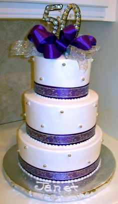 50th birthday cake except I want it in Purple and greysilver