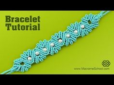 Yarn Shell Bracelet with Pearls | Tutorial by Macrame School - YouTube