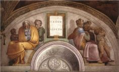 The Ancestors of Christ: Jacob, Joseph (Lunette) by Michelangelo a Fresco In the Sistine Chapel in Vatican City. Find a fine art print of this painting. Michelangelo, Miguel Angel, Sistine Chapel Ceiling, Art Occidental, Web Gallery Of Art, Galerie D'art En Ligne, High Renaissance, European Paintings, Oil Painting Reproductions