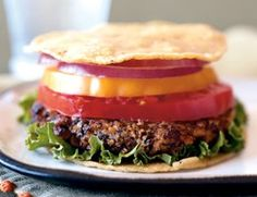 Yummy gluten-free veggie burger.  I've been a vegetarian for years, but my recent journey into testing out a wheat free diet has brought a whole new adventure.