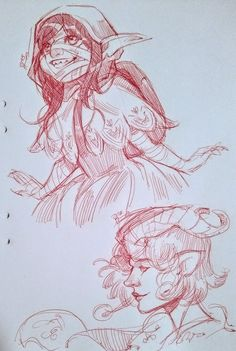 Lina    @ElfenCeres   20h20 hours ago Some ballpoint pen sketches of Nott and Jester from #CriticalRole #criticalrolefanart