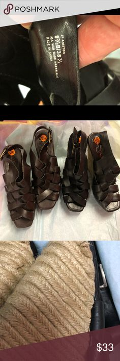Jessica Simpson Strappy Wedges 2Pairs one black one chestnut 🌰 in color. Both pairs are brand new, size 8 1/2. The wedges on both pairs have a few minor pulls on the straw wrap. Really not noticeable and an easy fix. Offers welcome 🙏 but please no Lo Balling! Priced accordingly. Any questions, please ask before you purchase (additional photos, for either pair, or both). Jessica Simpson Shoes Wedges
