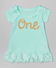Look at this Teal & Gold Number Personalized Dress - Infant, Toddler & Girls on #zulily today!