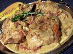 cuisse de lapin, lardons, muscadet, échalote, beurre, huile d'olive, farine, bouquet garni, feuille de laurier, moutarde, bouillon...