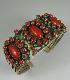 Vintage Zuni silver and coral cuff bracelet
