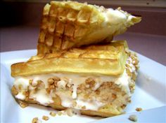 """Waffle Ice Cream Sandwiches: """"I like to get the waffles as crisp as possible without burning and it reminds me of a waffle cone. I also suggest adding some whipped topping to each waffle and a small amount of chocolate syrup."""" -Thumbs"""