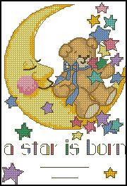Dimensions Jiffy A Star is Born Mini Counted Cross Stitch Kit, 5 inch x 7 inch, Multicolor Baby Cross Stitch Patterns, Cross Stitch Baby, Counted Cross Stitch Kits, Cross Stitch Charts, Cross Stitch Embroidery, Embroidery Patterns, Embroidery Thread, Bordados E Cia, A Star Is Born
