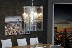 Design Hängeleuchte GHOST 55cm silber chrom transparent Zylinder Lüster