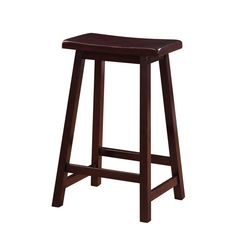 Linon Curved Seat Backless Stationary Counter Stool (Saddle Stool 24), Brown (Rubberwood)