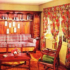 1960s Living Room Decor 1960s Living Room, Living Room Decor, 1960s Decor, Vintage Homes, Curtain Designs, Beatles, Nostalgia, Curtains, Interiors
