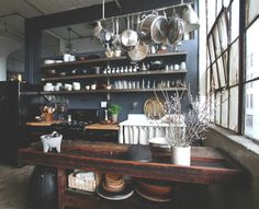 food home decor vintage design Home Grunge city sun rustic urban eat Interior cooking house interiors decor furniture kitchen living lifestyle apartment industrial lighting Table Pots ECLECTIC counter dining urban industrial Dining Kitchen Category