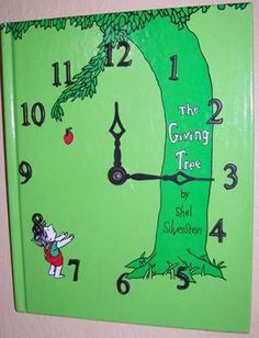 Make a clock out of old book covers!  Like this idea!