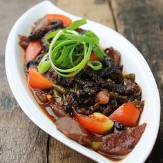 Tender Octopus Stewed with Asian Tauco Fermented Soy Bean Chili Tomato Sauce Coconut milk and Chayote Plus Tips for Cooking Dried Octopus