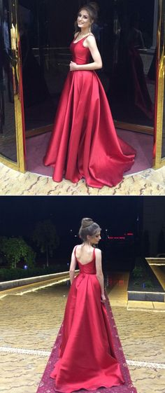 Formal Prom Dresses, A-Line Round Neck Sleeveless Sweep Train Red Satin Prom Dress Whether you prefer short prom dresses, long prom gowns, or high-low dresses for prom, find your ideal prom dress for 2020 Backless Bridesmaid Dress, Straps Prom Dresses, A Line Prom Dresses, Prom Party Dresses, Formal Dresses, Dress Prom, Long Dresses, Backless Dresses, Corset Dresses