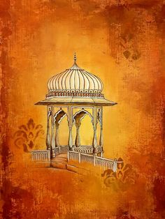 Page The quintessential 'chattri' that is seen almost everywhere in the Rajasthani architecture. A perfect blend of. Cityscape Drawing, Paisley Art, Building Painting, Mandala Canvas, Watercolor Paintings, Acrylic Paintings, Paint Photography, Indian Folk Art, Indian Art Paintings