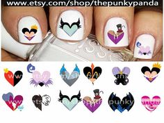 Buy 2 Get 1 Free-180 Decals Total-60 Nail Decals Per Set - Disney Villains Heart - Valentines - Nail Art Nail Decals by ThePunkyPanda