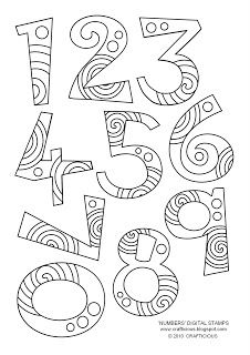'Numbers' Free Digital Stamp Set 'plus' other fun paper crafts/digi's free Colouring Pages, Coloring Books, Doodle Lettering, Alphabet And Numbers, Embroidery Patterns, Ribbon Embroidery, Machine Embroidery, Clipart, Doodles