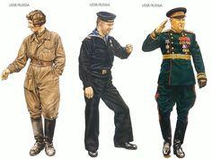 World War II Uniforms - SSR/Russia – 1943 July, Kursk, Tankman, II Guards Tank Corps USSR/Russia – 1943 June, Black Sea, Petty Officer 2nd Class, Caspian Flotilla USSR/Russia – 1945 May, Moscow, General, Red Army