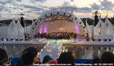 Open domes for outdoor concerts - Dome theater - Geodesic dome covers for sale - Custom dome stage - Easily assembled geodesic dome tents - Steel dome buildings - Shelter Dome (2)
