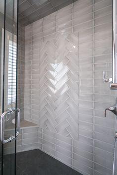 Custom shower bench in the en-suite bathroom