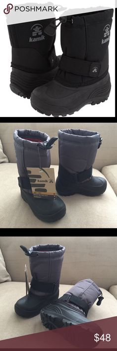 Kamik KIDS  winter boots, brand New with Tag, Waterproof and flexible synthetic rubber boot, made in USA size 10 Kamik Shoes Rain & Snow Boots