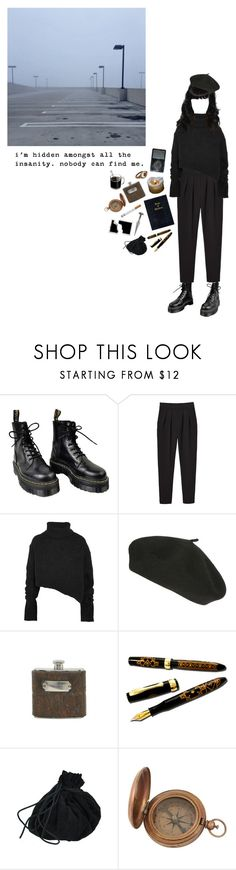 """the death of my spirit"" by coffee-and-jazz ❤ liked on Polyvore featuring Dr. Martens, Monki, Ann Demeulemeester, Jayson Home, Fountain, Bellatrix and vintage"