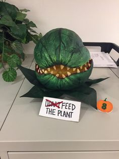 My wife won her office pumpkin decorating contest after 5 years of disappointment : pics Halloween Decorations For Kids, Halloween Party Decor, Fall Halloween, Halloween Crafts, Holiday Crafts, Halloween Ideas, Alien Halloween, Homemade Decorations, Holiday Decorations