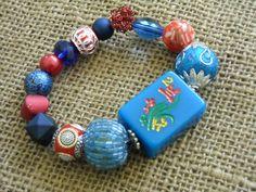 Red and Blue Mahjong Bracelet - Jesse James Beaded Bracelet  - Mah jong Jewelry - Oriental Jewelry by Earmarksdesigns on Etsy