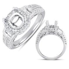 14k .84 Dwt Diamond White Gold Pave Engagement Ring, Women's, Size: 7