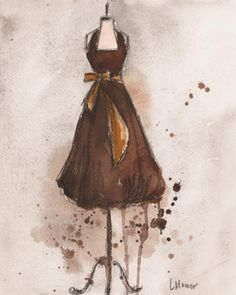 Autumns Gold Vintage Dress Painting  - Autumns Gold Vintage Dress Fine Art Print