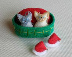 Rag doll Cats felt plush miniature Christmas play by wishwithme, $23.00