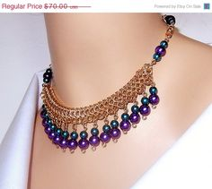 LABOR DAY SALE Chainmaille necklace beaded by NezDesigns on Etsy, $49.00