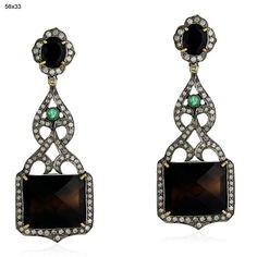 18K Solid Gold 24.9 ct Emerald/Onyx Diamond 925 Sterling Silver Earrings Jewelry #Handmade #DropDangle $714
