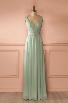 Idolina - Mint green veil pleated bust gown
