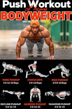 Doing the same old push-ups day in and day out can feel a little boring, so we're here to shake things up. Variety can supercharge a workout and throw a whole range of new muscles into the mix… Workout Hiit, Push Workout, Gym Workout Chart, Calisthenics Workout, Gym Workout Videos, Abs Workout Routines, Workout Challenge, Gym Workouts, At Home Workouts