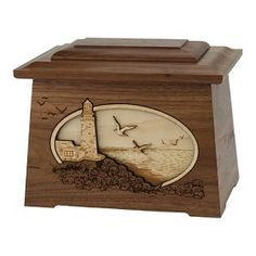 Lighthouse 3D Inlay Hardwood Urn for Ashes | Wood Urns for Cremation